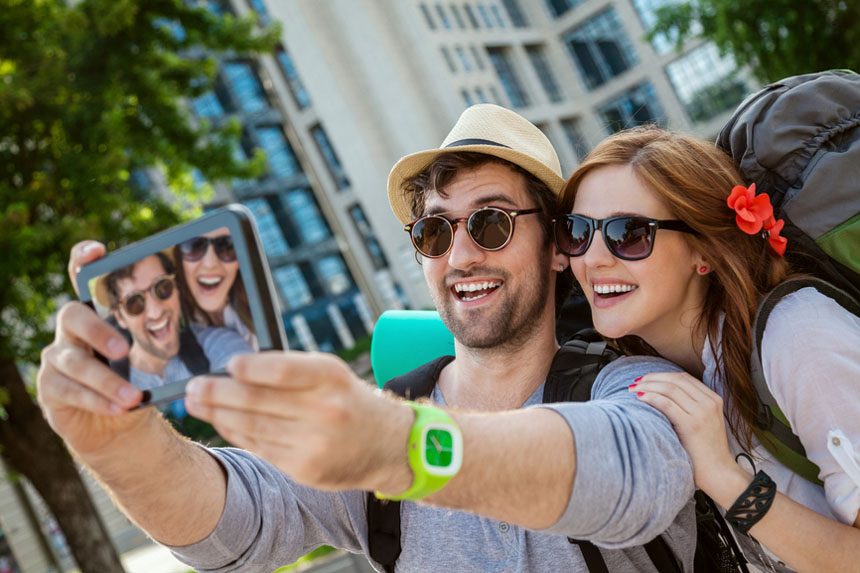 Two Tourists Taking Selfie